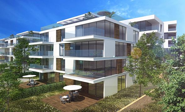 הדמיה של בית דירות שיוקם בקיסריה. מתוכננים 5 בניינים