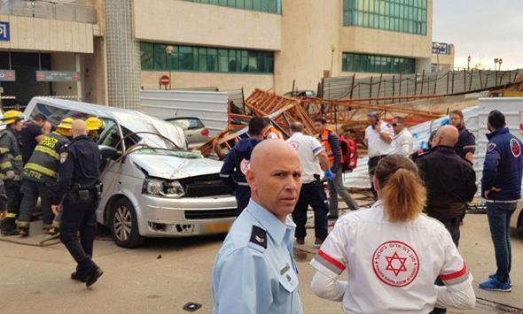 זירת האירוע. מתחילת השנה נהרגו 7 פועלי בניין בתאונות עבודה