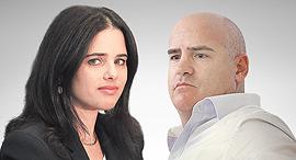 עדיאל שמרון ואיילת שקד, צילום: ענר גרין, אלכס קולומויסקי