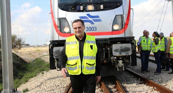 שר התחבורה ישראל כץ השקת קו הרכבת המהיר בין תל אביב לירושלים (ארכיון)