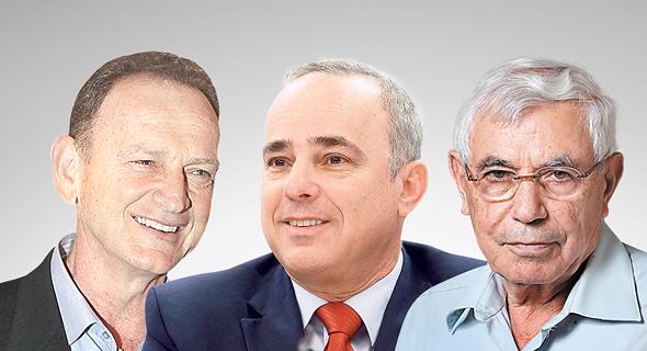 מימין יוסי רוזן יובל שטייניץ ו יוחנן לוקר ועידת האנרגיה 2018, צילום: אוראל כהן, עמית שעל