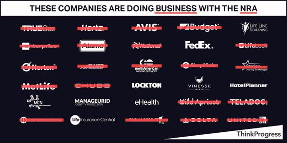 רשימה של חברות שנדרשו או כבר ניתקו את הקשרים שלהן עם ה־NRA, שרצה ברשתות החברתיות