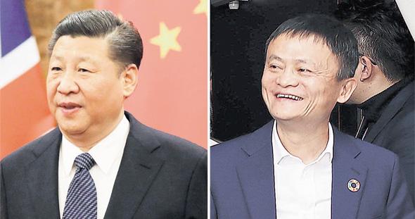 """ג'ק מא מעליבאבא (מימין) ונשיא סין שי ג'ינפינג. """"הם החברים הכי טובים, ולכן אני חושבת שהדירוג של עליבאבא יתחבר לציון האזרחי של הממשלה. ובעליבאבא יודעים עליך הכל"""""""