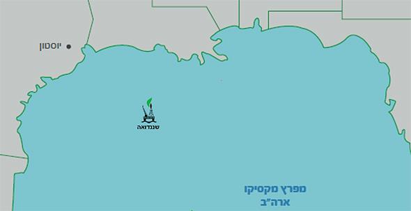 מיקום מאגר שננדואה במפרץ מקסיקו