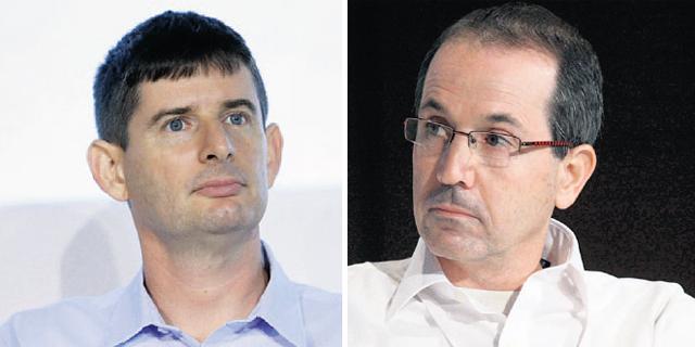 """מימין: מנכ""""ל לאומי קארד רון פאינרו ומנכ""""ל ישראכרט רון וקסלר, צילום: עמית שעל"""