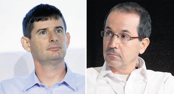 """מימין: מנכ""""ל לאומי קארד רון פאינרו ומנכ""""ל ישראכרט רון וקסלר"""
