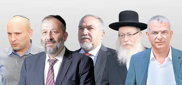 ראשי מפלגות הקואליציה: כחלון, ליצמן, ליברמן, דרעי ובנט