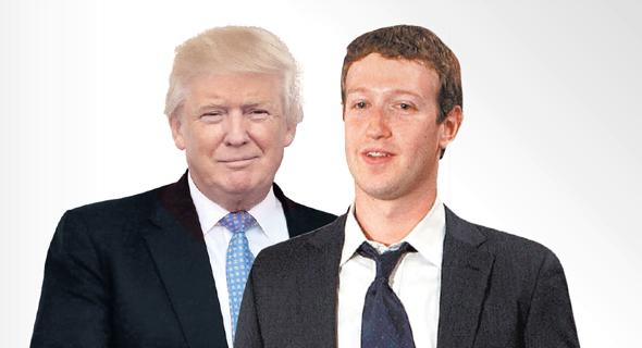 """מימין מנכ""""ל פייסבוק מארק צוקרברג ונשיא ארצות הברית דונלד טראמפ, צילום: בלומברג, טי.אן.אס"""