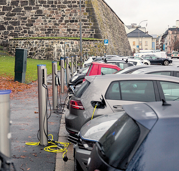 Electric vehicle charging station in Norway. Photo: Bloomberg