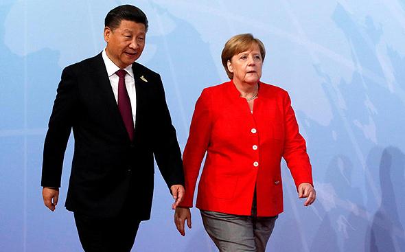 קנצלרית גרמניה אנגלה מרקל ו נשיא סין שי ג