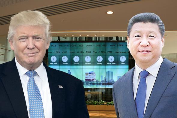 """מימין נשיא סין שי ג'ינפינג נשיא ארה""""ב דונלד טראמפ על רקע הבורסה בתל אביב, צילומים: גטי אימג'ס, עמית שעל"""