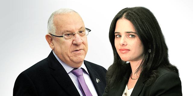 שרת המשפטים איילת שקד ונשיא המדינה ראובן ריבלין , צילום: אלכס קולומויסקי, גיא אסיאג