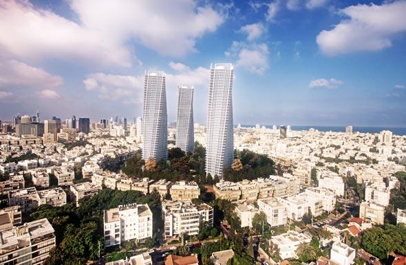 """הדמיית המגדלים בכיכר המדינה, צילום: יח""""צ"""