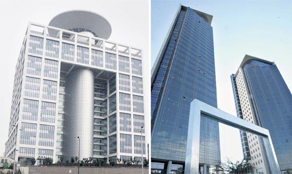 שניים מהפרויקטים של משרד יסקי: מגדלי בסר (מימין) ובניין משרד הביטחון בקריה (משמאל)