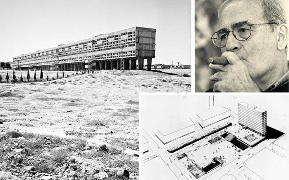 """האב, אברהם יסקי, ופרויקטים שתכנן: מ""""שיכון רבע הקילומטר"""" הסוציאליסטי בבאר שבע (משמאל), דרך כיכר רבין, ועד מגורי היוקרה של מגדלי יו (למטה)"""