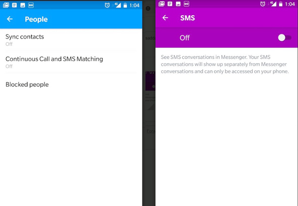 מדריך פרטיות פייסבוק SMS שיחות, צילום מסך