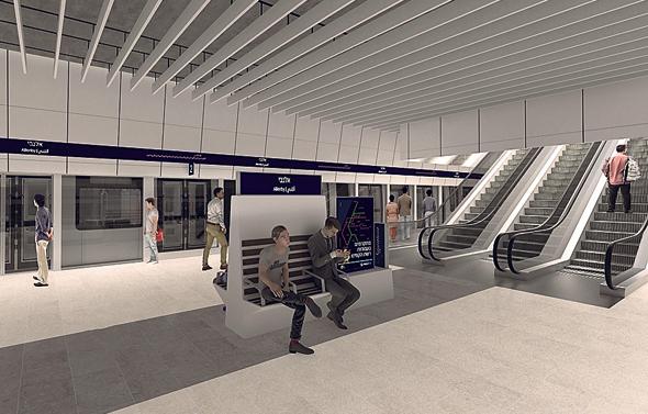 הדמיה של דרגנועים בתחנת אלנבי הרכבת הקלה