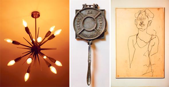 מימין: דיוקן עצמי של רקנטי מתקופת לימודיו בשנקר; כלי עתיק להכנת טורטיות; מנורה משוק הפשפשים ביפו. רק אור צהוב