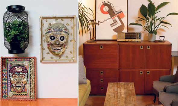 """מימין: ארונית עץ שקיבלו במתנה ועליה רדיו ישן מברצלונה. """"בהחלט לא דירה מינימליסטית""""; עבודות אמנות של אביו של רקנטי"""