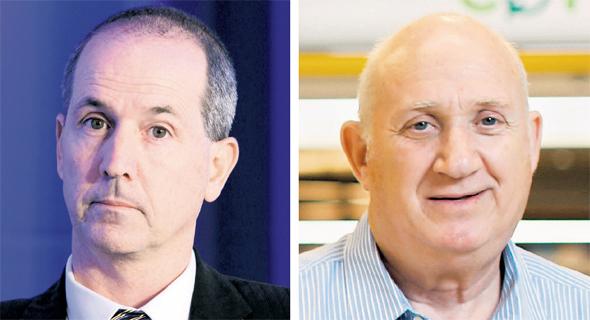 """מימין: איציק אברכהן, מנכ""""ל שופרסל ורון פאינרו, מנכ""""ל MAX"""