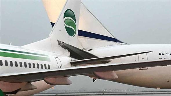 """המטוסים שהתנגשו לפני ההמראה בנתב""""ג, צילום: אלה אבנר"""