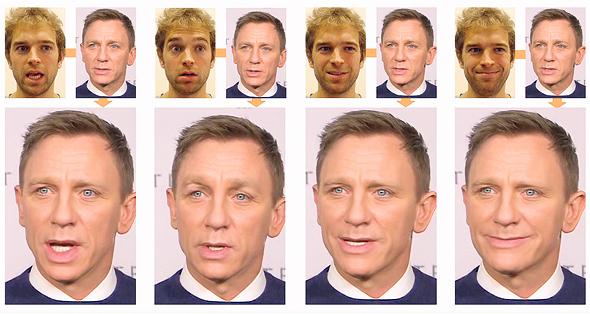 תמונה של השחקן דניאל קרייג משנה הבעה בהתאם לפניו של המשתמש בתוכנת face2face. המצולם נהפך לבובה בידי המשתמש