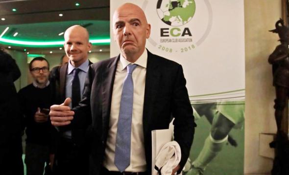 """ג'יאני אינפנטינו, נשיא פיפ""""א ב כנס של ECA ארגון מועדוני הכדורגל באירופה"""