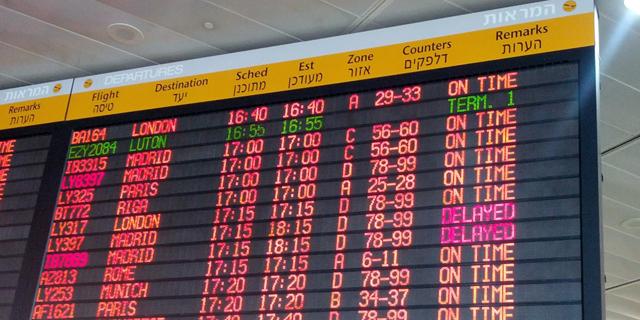 """לוח הטיסות בנתב""""ג, צילום: freestock-images"""