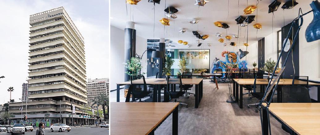 מימין: חלל עבודה של rent24 בגרמניה והבניין ברחוב קפלן שבו ייפתחו המשרדים, צילום: ענר גרין, אתר החברה rent24