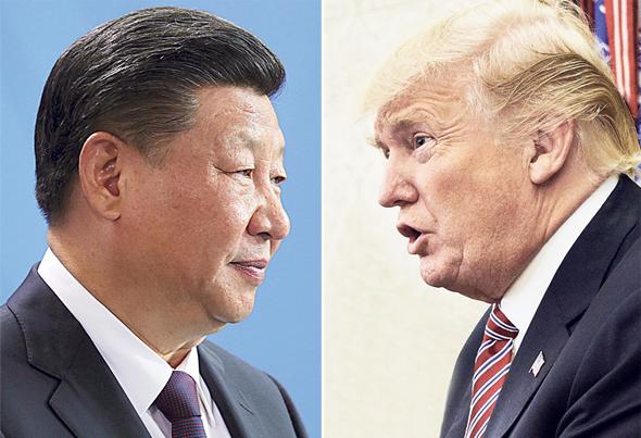 """נשיא ארה""""ב דונלד טראמפ ונשיא סין שי ג'ינפינג, צילומים: בלומברג, רויטרס"""