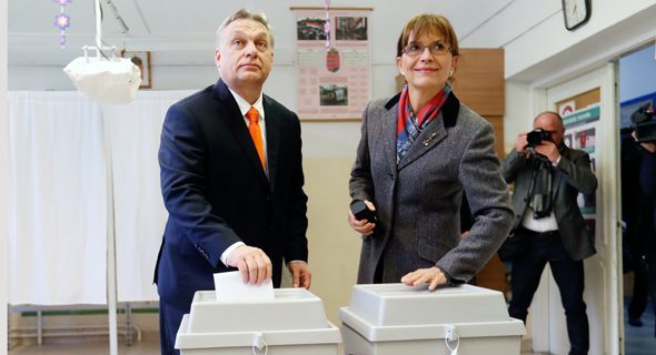 Hungarian Prime Minister Viktor Orbán and his wife voting in April. Photo: Getty Images