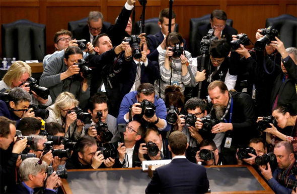 Facebook's Mark Zuckerberg testifies in Congress. Photo: Reuters
