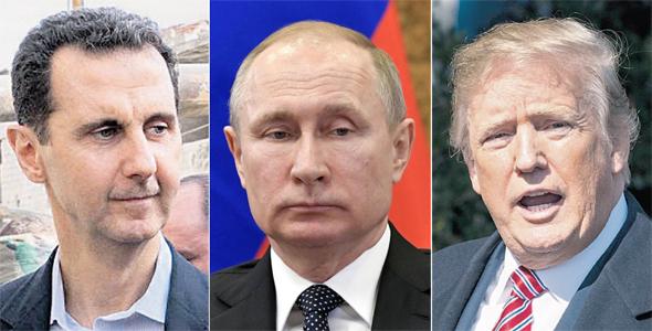 """מימין: נשיא ארה""""ב דונלד טראמפ, נשיא רוסיה ולדימיר פוטין ונשיא סוריה בשאר אל אסד.  המתיחות משרתת את אופ""""ק"""