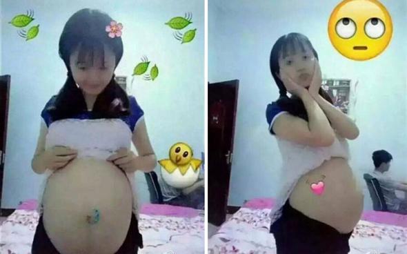 נערה מציגה הריון מול המצלמה