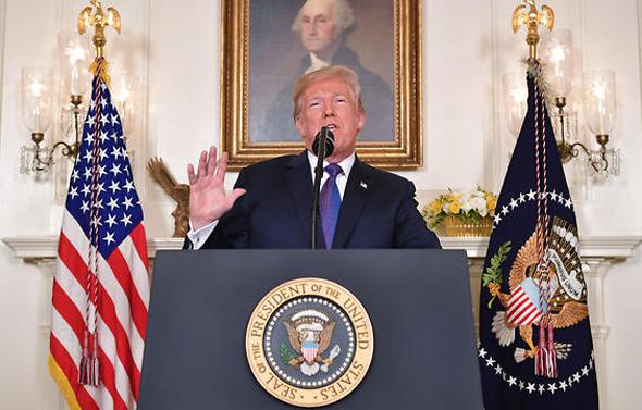 דונלד טראמפ נואם על התקיפה ב סוריה, צילום: איי אף פי