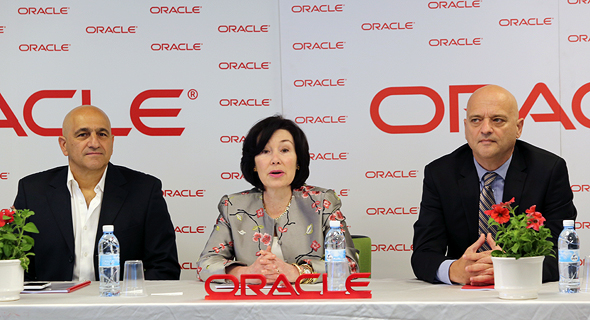 Safra Catz at the press conference. Photo: Ezra Levy