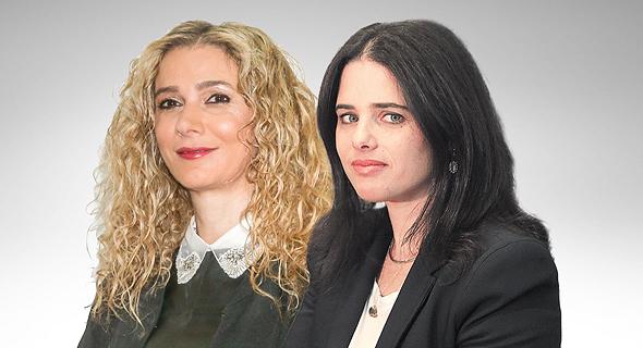 מימין שרת המשפטים איילת שקד והשופטת רונית פוזננסקי כץ, צילום: אלכס קולומויסקי, יריב כץ