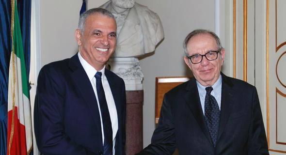 משה כחלון ו שר האוצר האיטלקי פייר קרלו פדואן, צילום: באדיבות דוברות מפלגת כולנו
