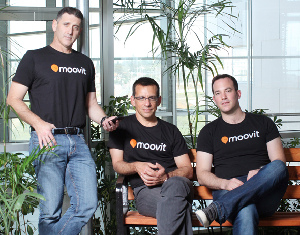 Moovit co-founders Nir Erez (left) Roy Bick, and Yaron Evron. Photo: Amit Shaal