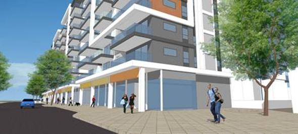 הדמיית הפרויקט. 204 דירות מעל קומת מסחר