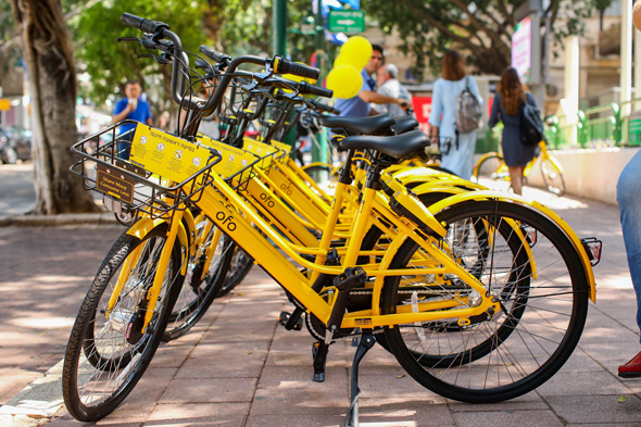 Ofo bikes in Ramat Gan. Photo: Shlomi Mizrachi