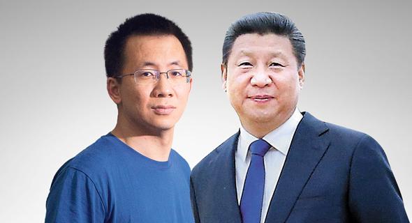 מימין: נשיא סין שי ג'ינפינג ומייסד בייטדאנס, ג'אנג יי מינג