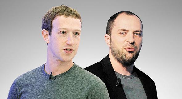 """מימין מייסד ומנכ""""ל ווטסאפ יאן קום מייסד ומנכ""""ל פייסבוק מארק צוקרברג, צילום: בלומברג, אי פי איי"""