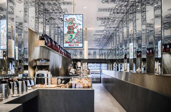 רשת בתי הקפה Matto בניו יורק שעיצב מייטליס. המחירים קופיקס, העיצוב פראדה