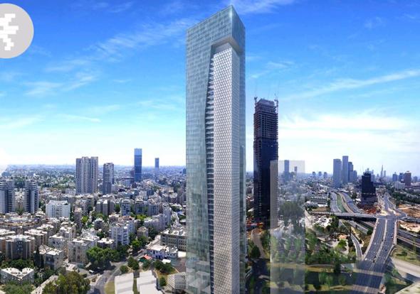 הדמיית מגדל משרדים יורוקום מתחם הבורסה רמת גן, הדמיה: מילוסלבסקי אדריכלים