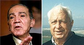 מימין: אריאל שרון וסמי שמעון, צילומים: מאיר פרטוש , משה שי