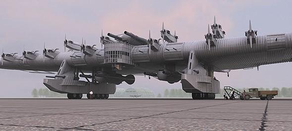 עיצוב קונספט של הגרסה הצבאית - ספינת תותחים מעופפת