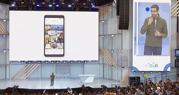 """מנכ""""ל גוגל, סונדאר פיצ'אי, מציג את החידושים באנדרואיד בכנס המפתחים של החברה"""