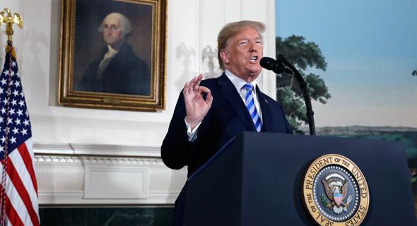 """נשיא ארה""""ב דונלד טראמפ איראן הבית הלבן נאום 3, צילום: איי פי"""