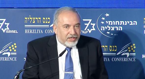 שר הביטחון אביגדור ליברמן ב כנס הרצליה, צילום: קונטקט